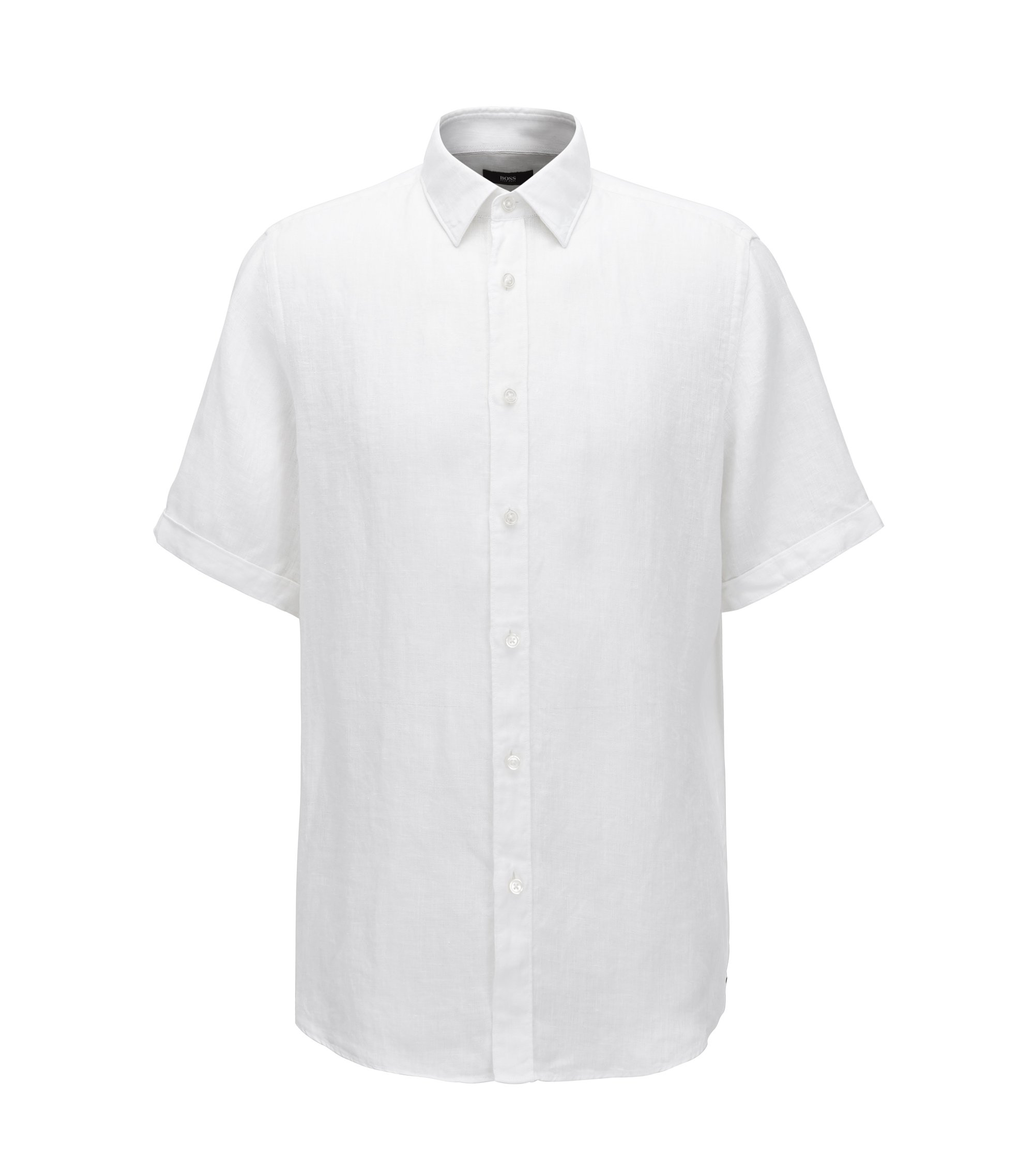 Regular fit short-sleeved shirt in washed Italian linen, White