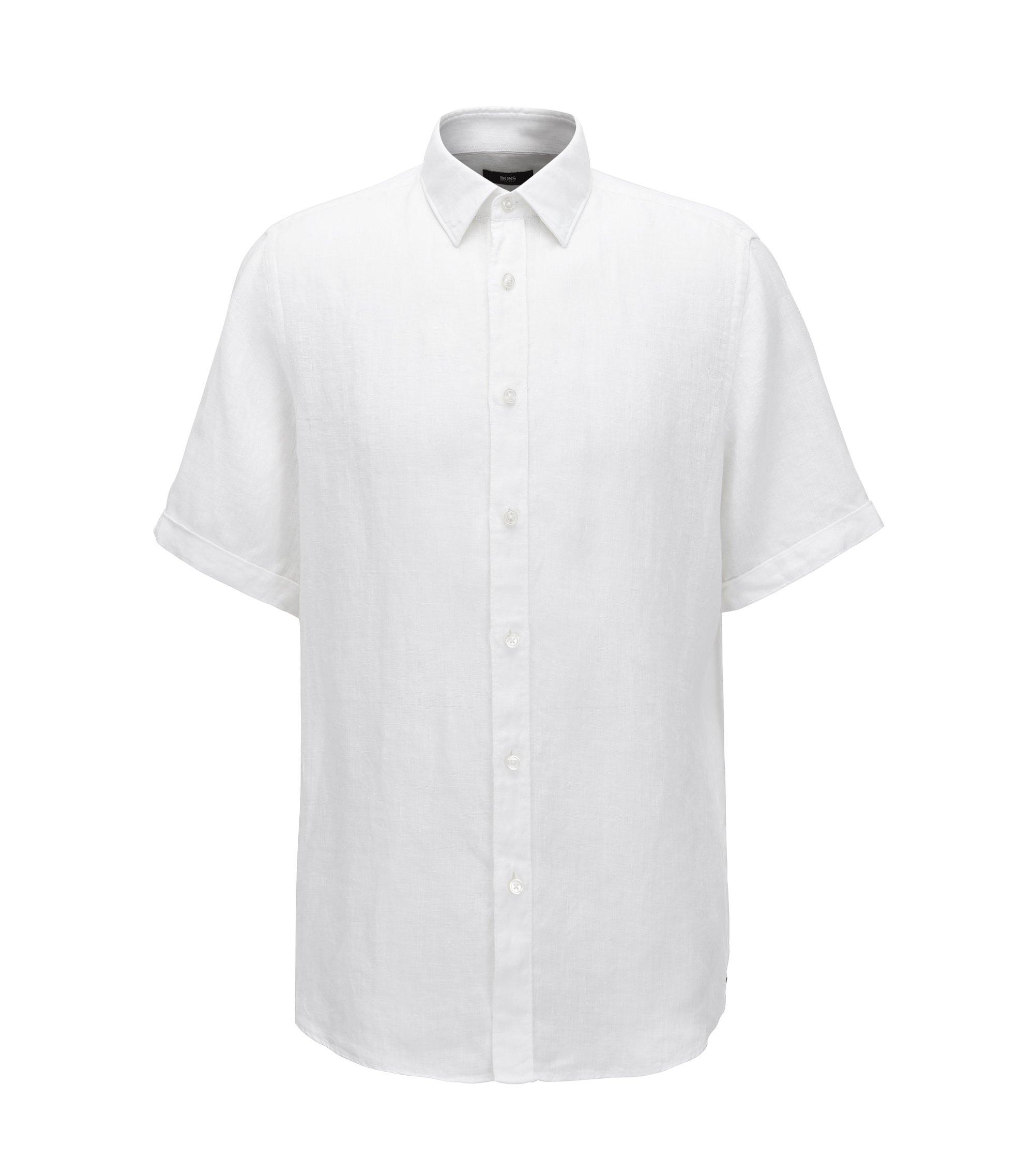 Camicia regular fit a maniche corte in lino lavato realizzato in Italia, Bianco