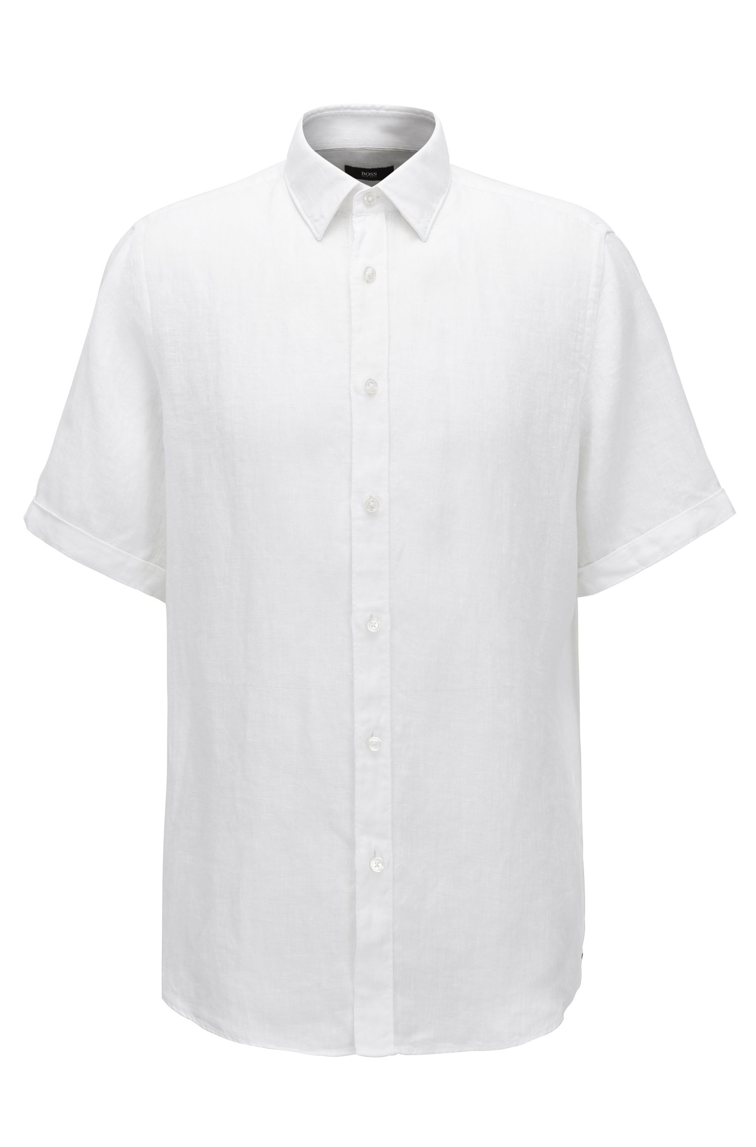 Camicia regular fit a maniche corte in lino lavato realizzato in Italia