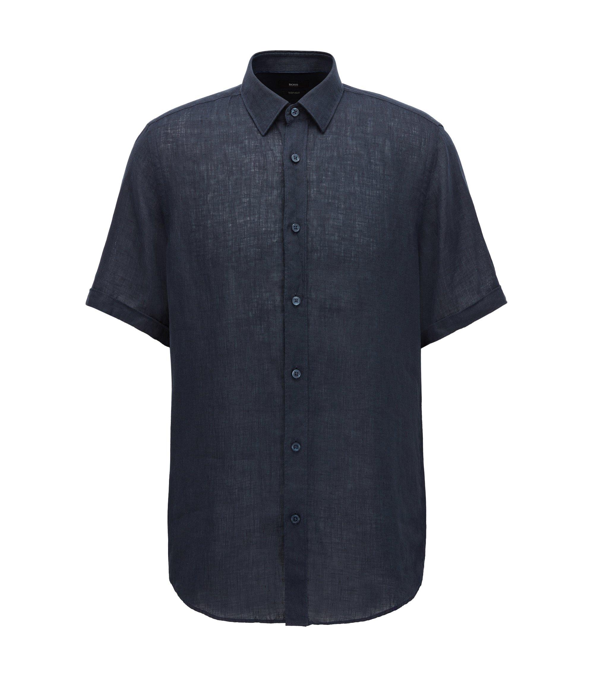 Regular-Fit Kurzarmhemd aus gewaschenem italienischem Leinen, Dunkelblau