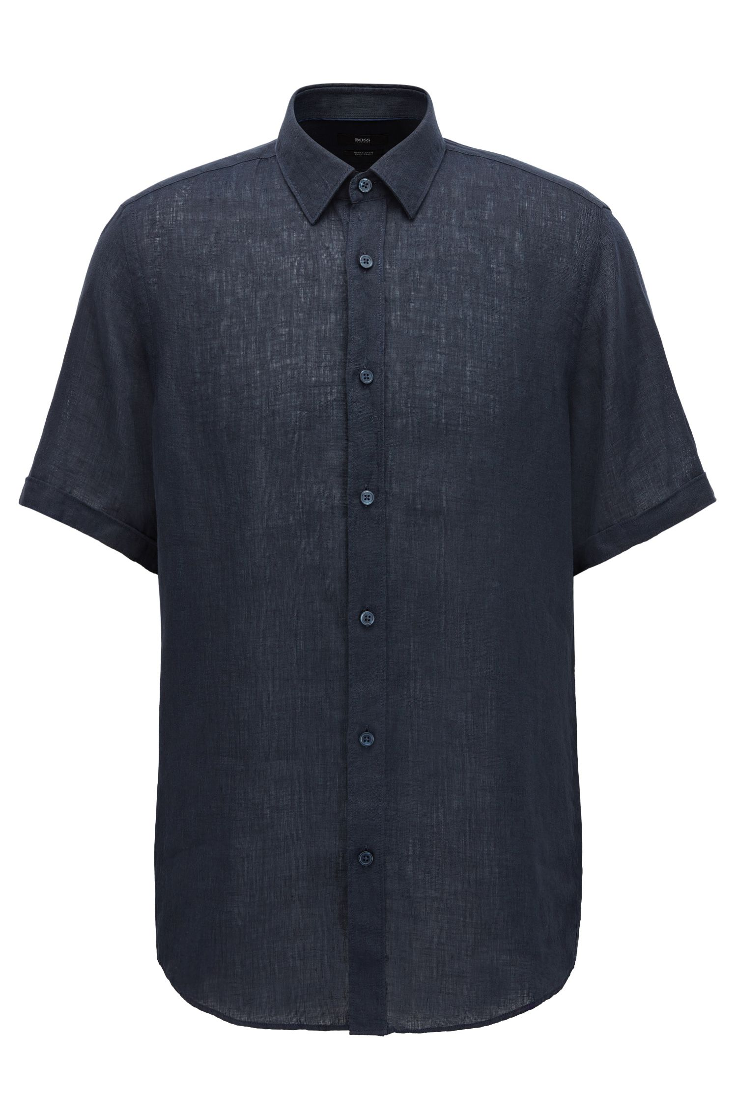Regular fit short-sleeved shirt in washed Italian linen