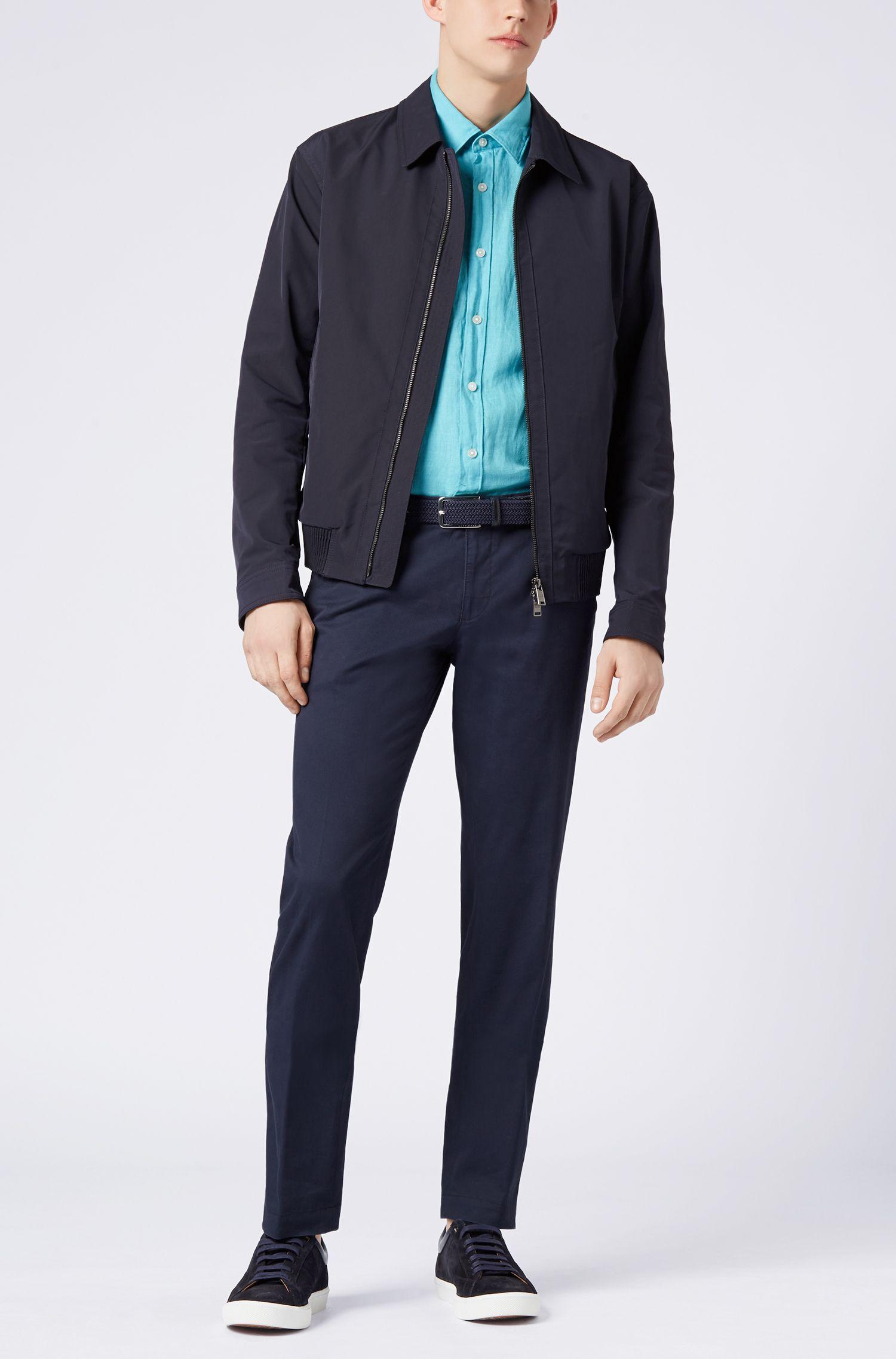 Regular fit short-sleeved shirt in washed Italian linen
