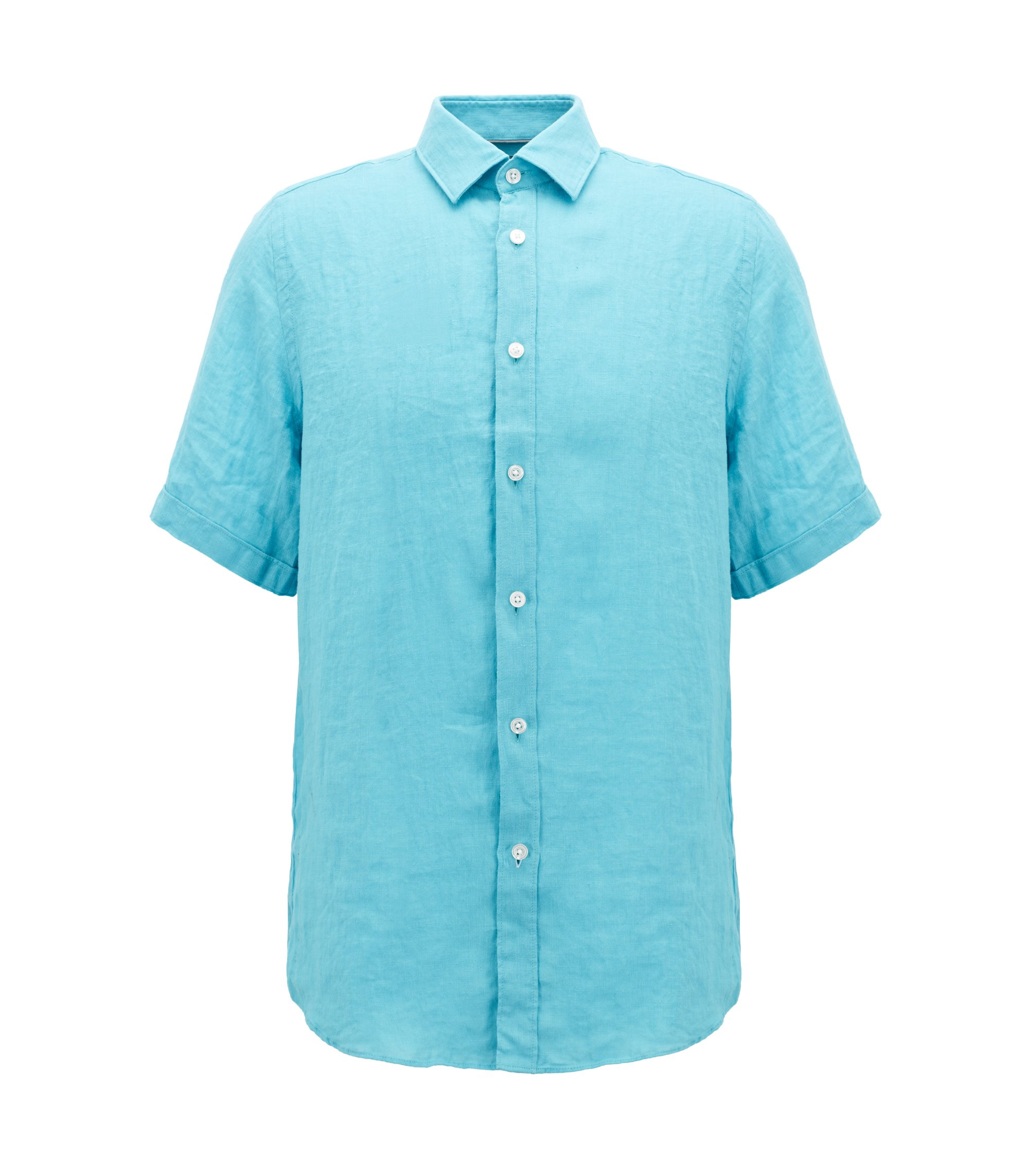 Regular fit short-sleeved shirt in washed Italian linen, Light Blue