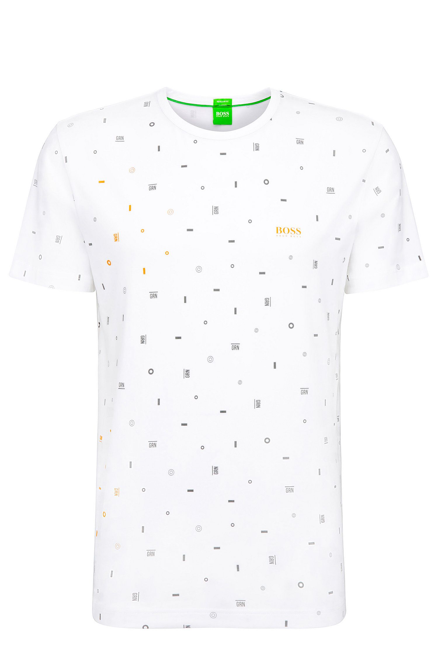 Regular-fit t-shirt in stretch cotton with graphic pattern: 'Tee 7'