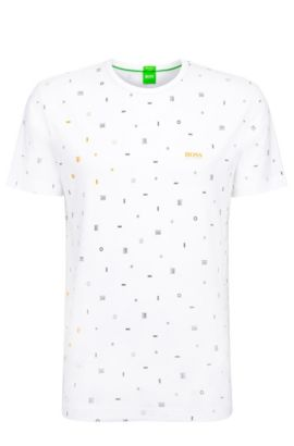 Regular-fit t-shirt in stretch cotton with graphic pattern: 'Tee 7', White