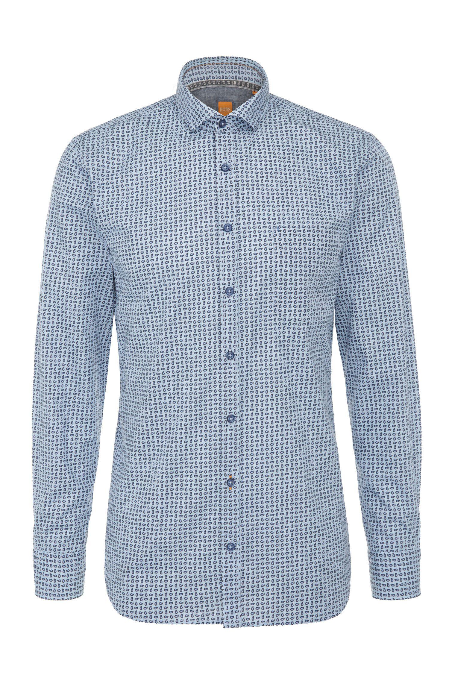 Camicia slim fit in cotone a disegni: 'Cattitude'