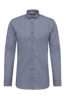 Patterned slim-fit shirt in cotton: 'Cattitude', Open Blue
