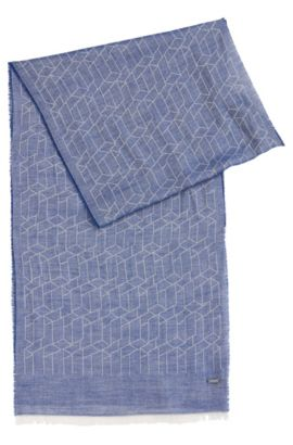 Patterned scarf in viscose blend with cotton and modal: 'Catore', Blue