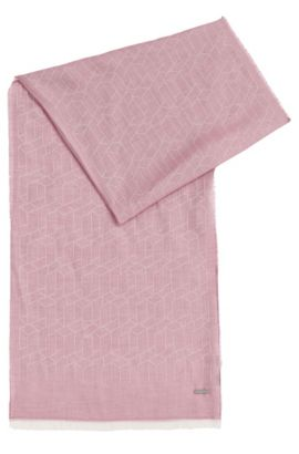 Patterned scarf in viscose blend with cotton and modal: 'Catore', Light Purple