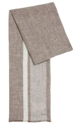 Mottled linen scarf: 'Cabello', Dark Green