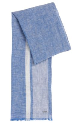 Mottled linen scarf: 'Cabello', Blue