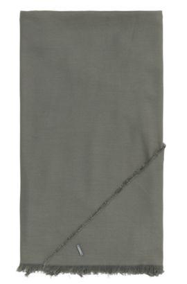 Driehoekige omslagdoek van een katoenmix met modal: 'Pulmas', Donkergroen