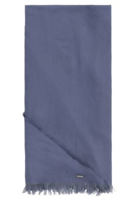 Triangular scarf in cotton blend with modal: 'Pulmas', Open Blue