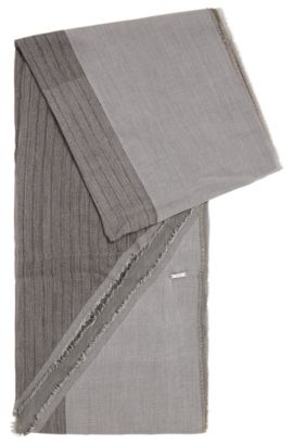 Scarf in cotton with asymmetric hems: 'Pulco', Grey