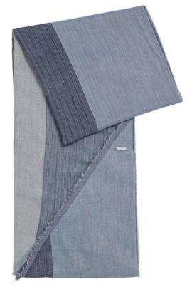 Schal aus Baumwolle mit asymmetrischen Abschlüssen: 'Pulco', Dunkelblau