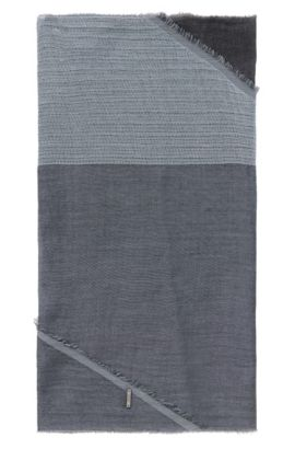 Scarf in cotton with asymmetric hems: 'Pulco', Light Blue