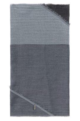 Sjaal van katoen met asymmetrische uiteinden: 'Pulco', Lichtblauw