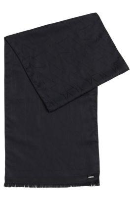 Écharpe imprimée en soie: «Penncos», Bleu foncé