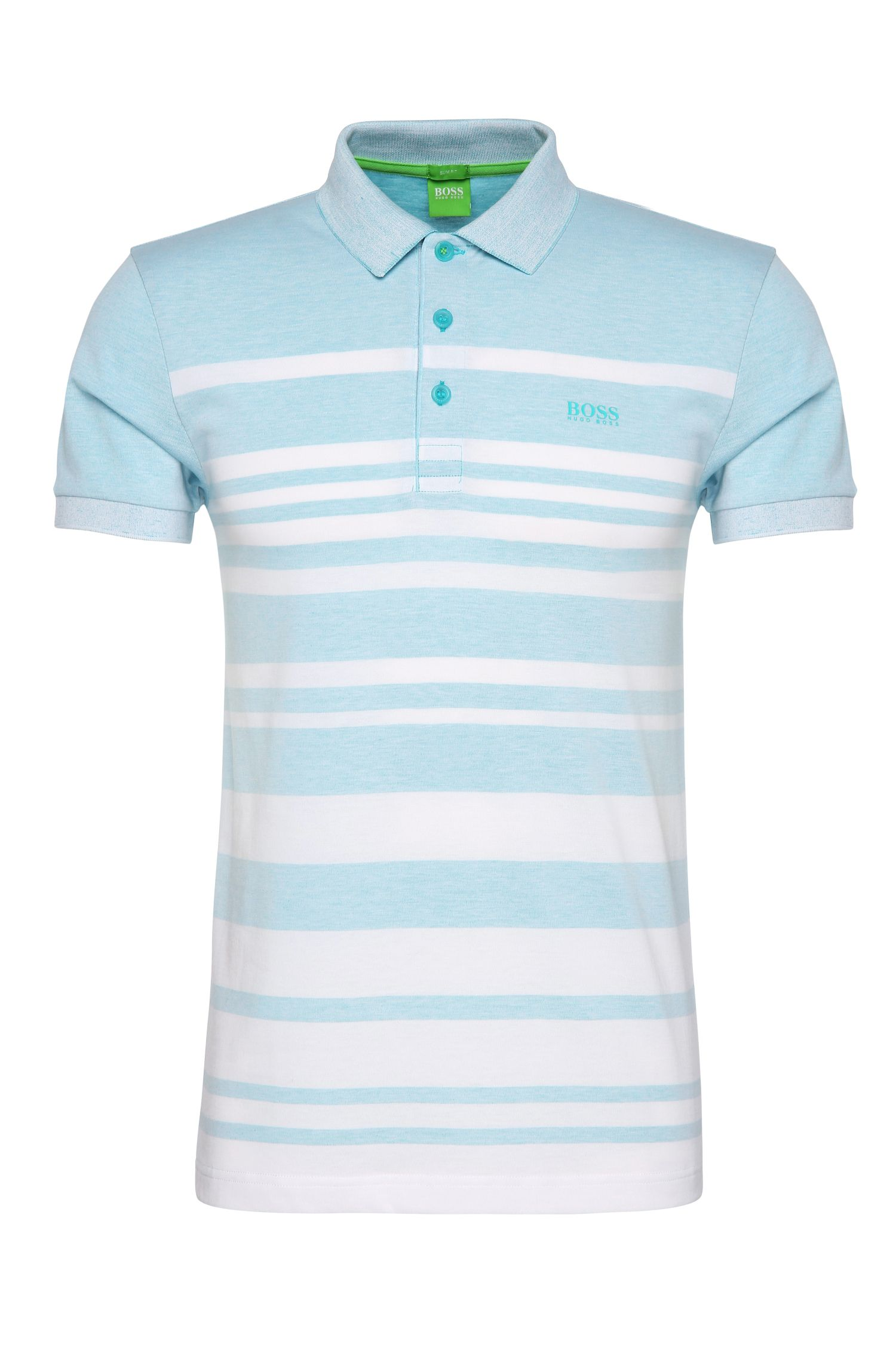 Slim-fit cotton blend polo shirt with striped pattern: 'Paule 8'