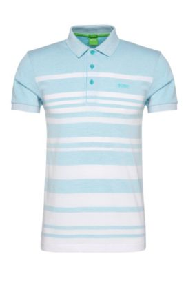 Slim-fit cotton blend polo shirt with striped pattern: 'Paule 8', Open Blue