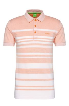 Slim-fit cotton blend polo shirt with striped pattern: 'Paule 8', Open Orange