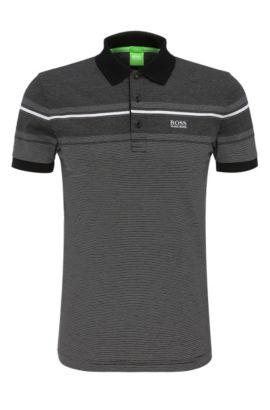 Gestreiftes Slim-Fit Poloshirt aus Baumwolle: ´Paule 5`, Schwarz