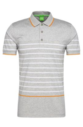 Striped slim-fit polo shirt in cotton: 'Paule 2', Light Grey