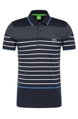 Striped slim-fit polo shirt in cotton: 'Paule 2', Dark Blue