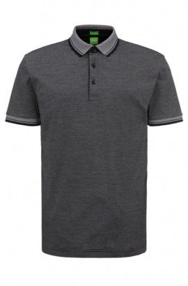 Gestreiftes Regular-Fit Poloshirt aus Baumwolle: ´C-Janis`, Schwarz
