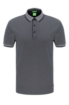 Striped regular-fit polo shirt in cotton: 'C-Janis', Dark Blue