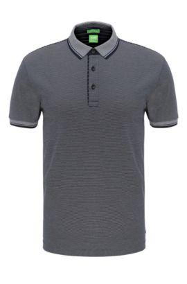 Polo Regular Fit, en coton à rayures: «C-Janis», Bleu foncé