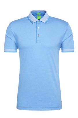 Striped regular-fit polo shirt in cotton: 'C-Janis', Blue