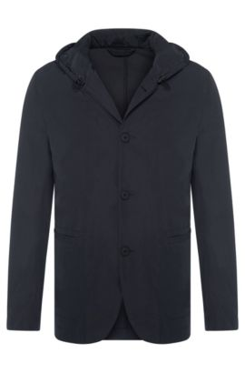 Hooded jacket in tailored jacket style: 'Josse-W', Dark Grey