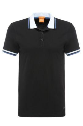 Polo Slim Fit en coton extensible: «Pay», Noir