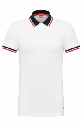 Slim-fit polo shirt in stretchy cotton: 'Pay', White