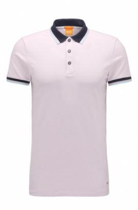 Polo Slim Fit en coton extensible: «Pay», Rose clair