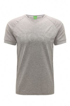 Mottled slim-fit t-shirt in stretch cotton with logo: 'Taleo', Light Grey
