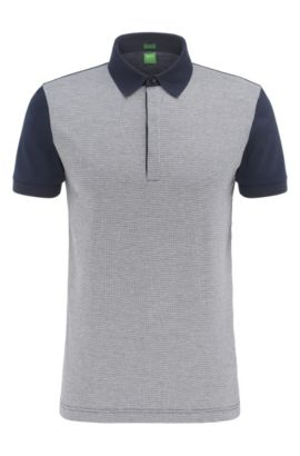 Regular-fit cotton polo shirt in a 2-tone look: 'C-Genova 2', Dark Blue