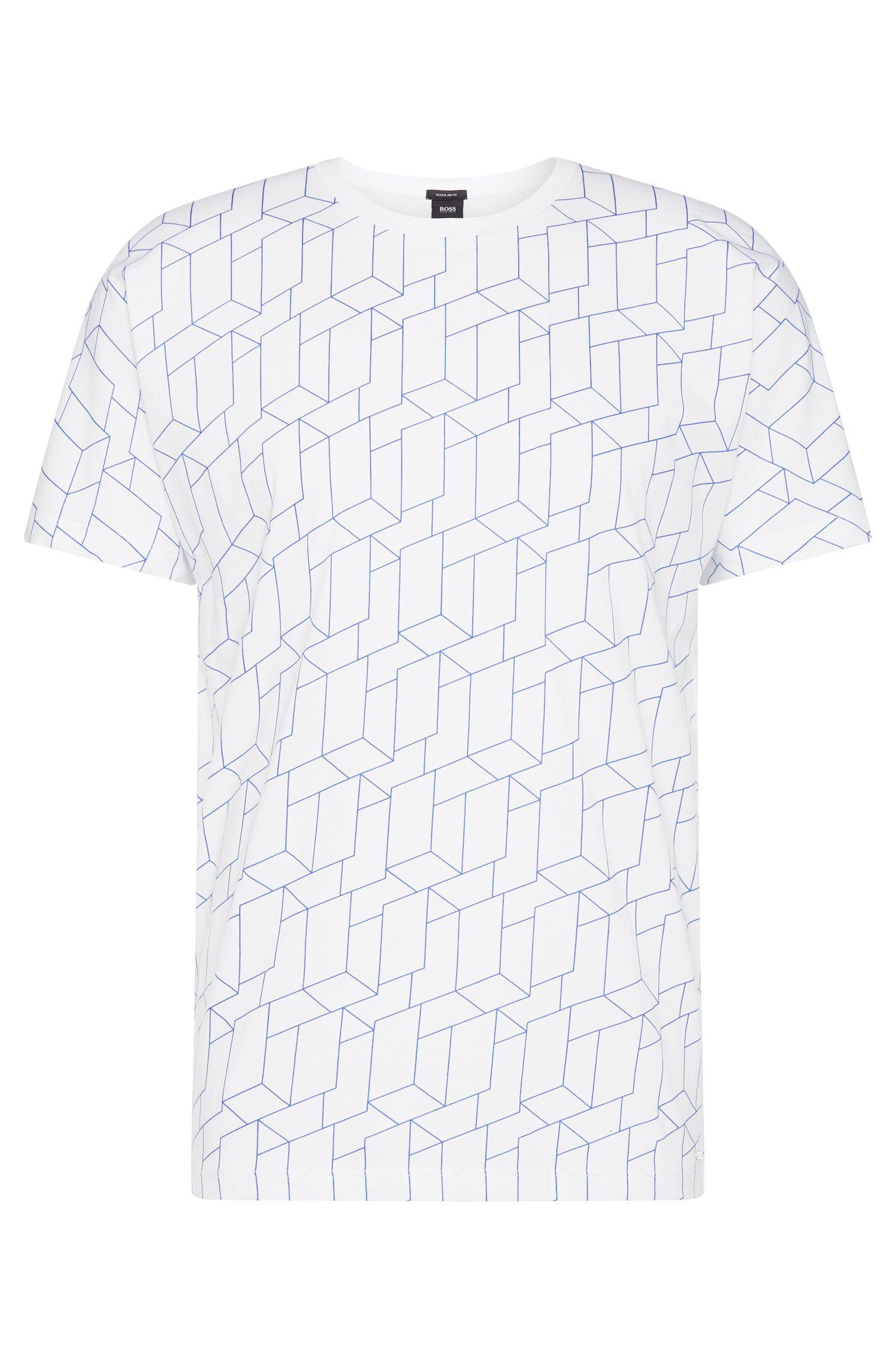 T-shirt Regular Fit en coton imprimé sur le devant: «Tiburt 27»