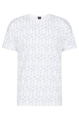 T-shirt Regular Fit en coton imprimé sur le devant: «Tiburt 27», Blanc