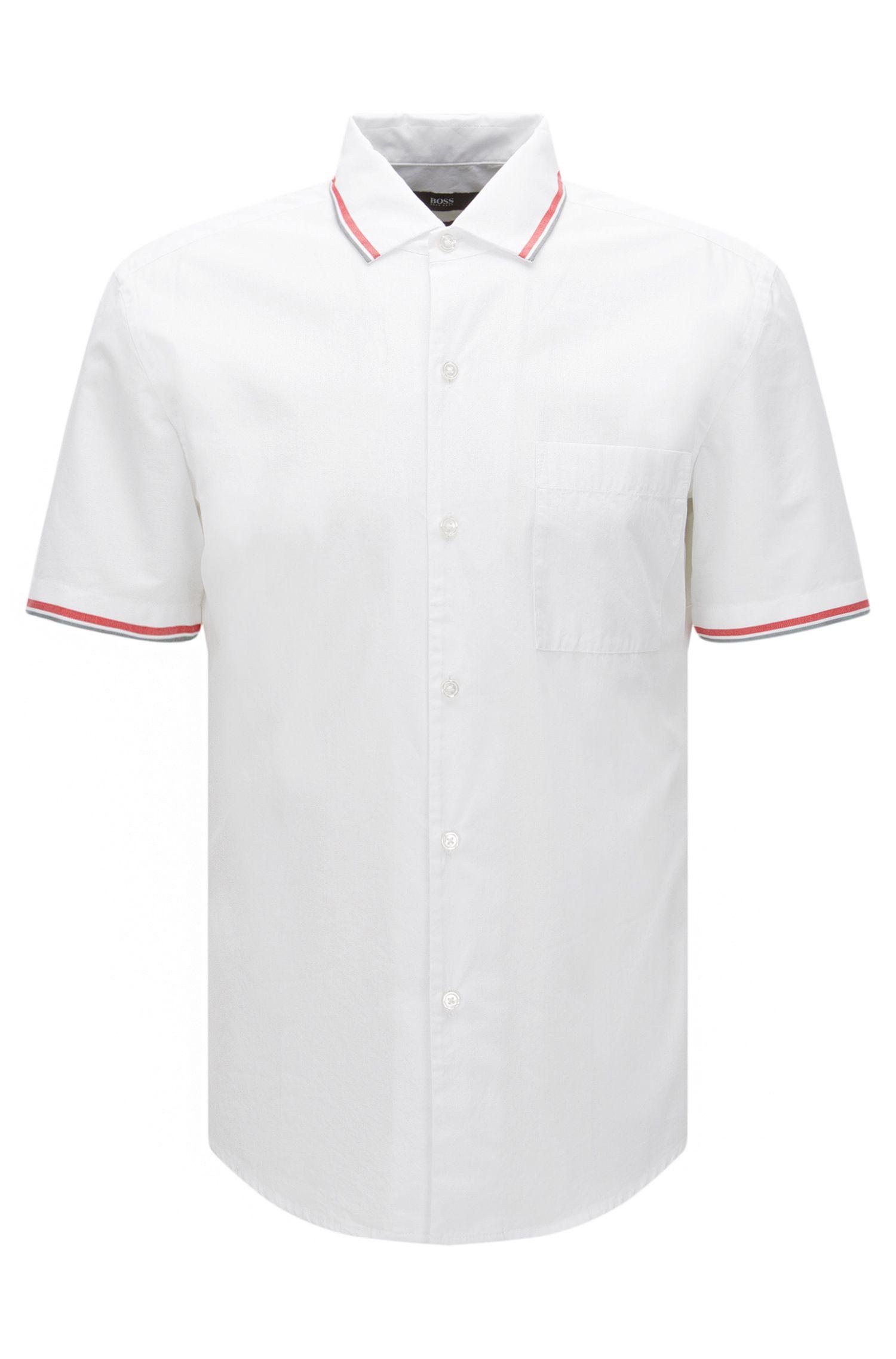 Slim-fit overhemd van katoen met borstzak en korte mouwen: 'Rino'