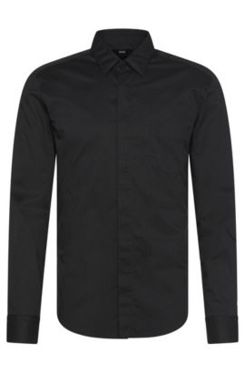 Chemise Slim Fit en coton extensible : « Reid_47HP » issue de la collection Mercedes-Benz, Anthracite