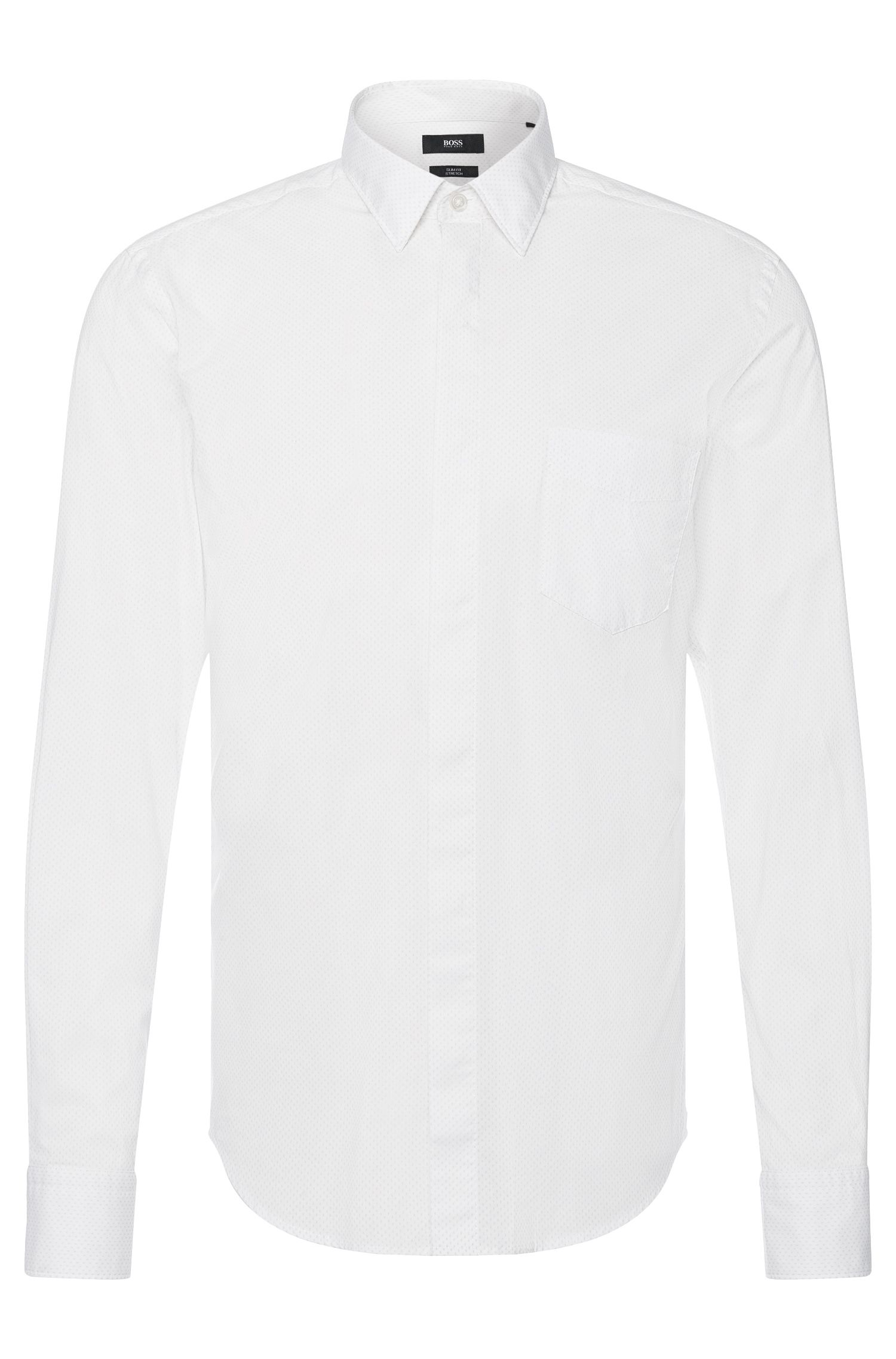 Slim-fit shirt in stretchy cotton: 'Reid_47HP' from the Mercedes-Benz Collection