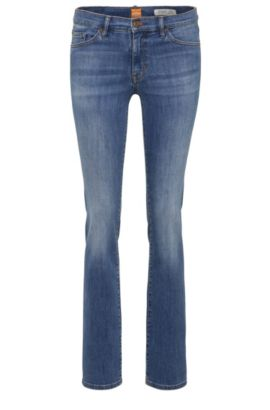 Slim-fit jeans in stretch-cotton blend: 'Orange J30', Blue