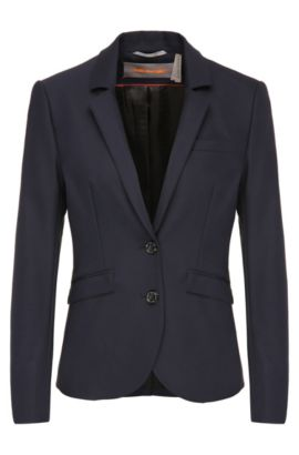 Slim-fit blazer in stretchy cotton blend: 'Owina', Dark Blue