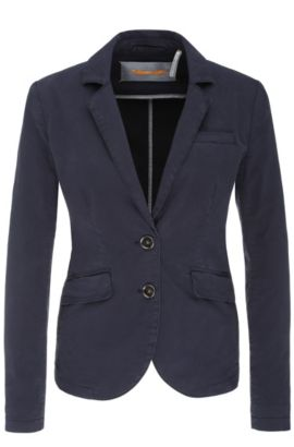 2-button blazer in stretch cotton: 'Owiny-D', Dark Blue