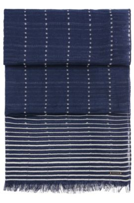 Patterned cotton scarf with stripes and short fringes: 'Nikolei', Dark Blue