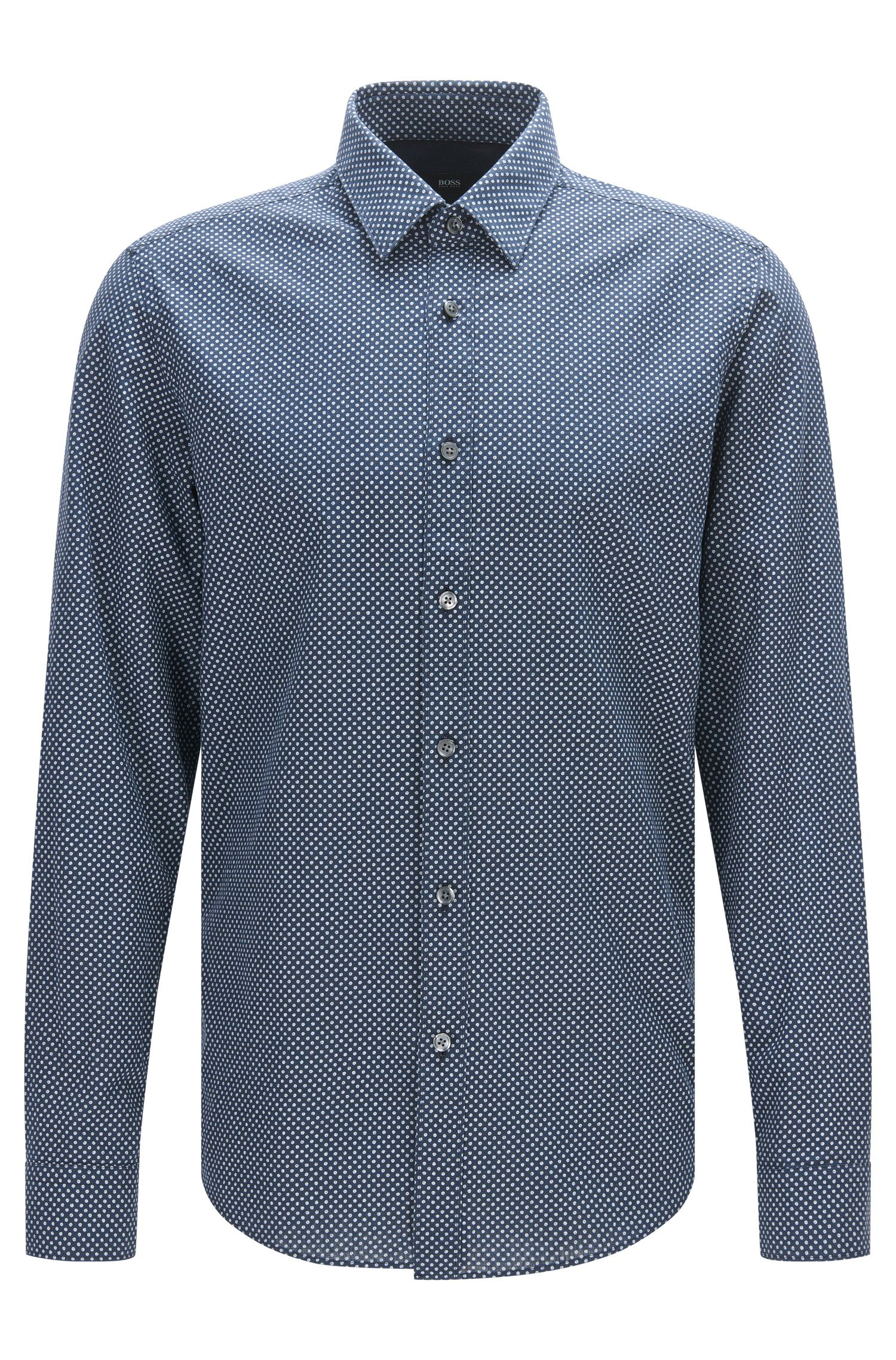 Polka-dot patterned regular-fit shirt in a linen blend with cotton: 'Lukas_44'