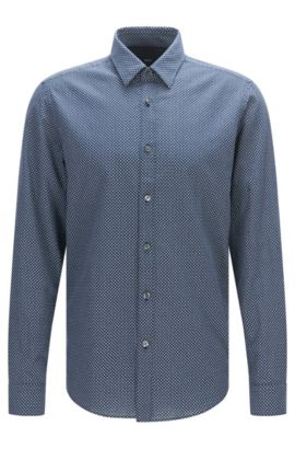 Polka-dot patterned regular-fit shirt in a linen blend with cotton: 'Lukas_44', Dark Blue