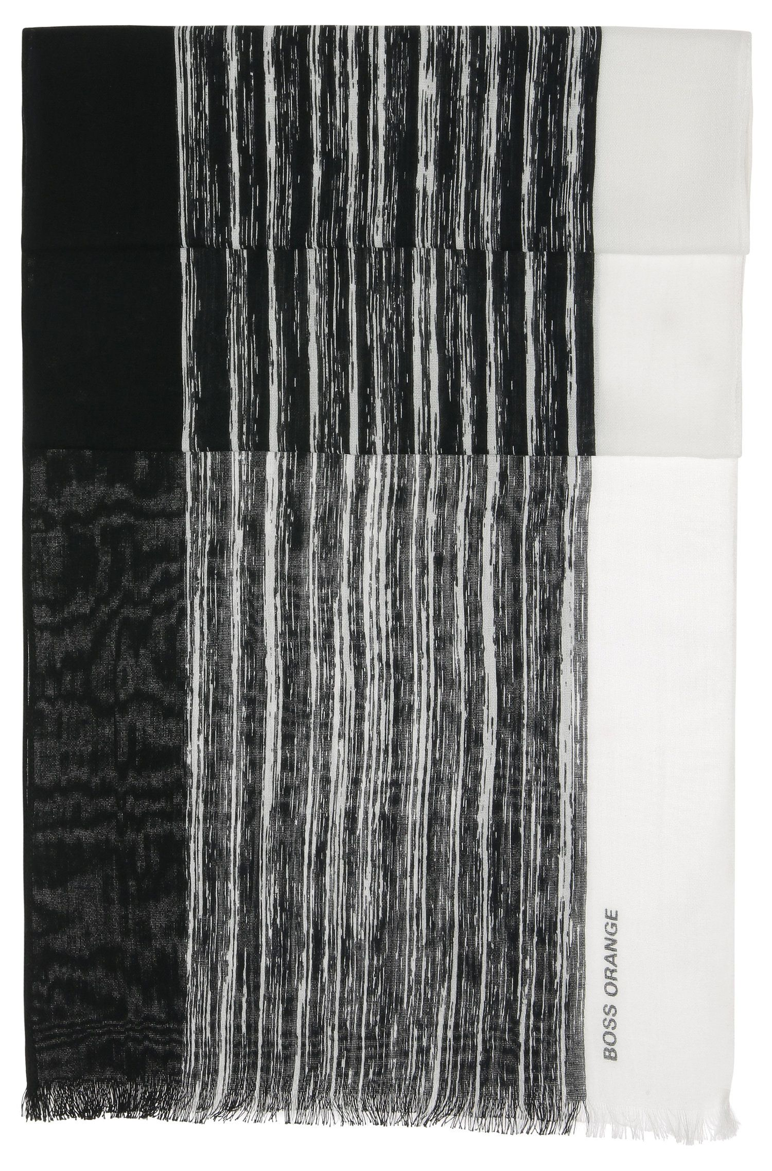 Striped scarf in lightweight cotton blend: 'Nabril-1'